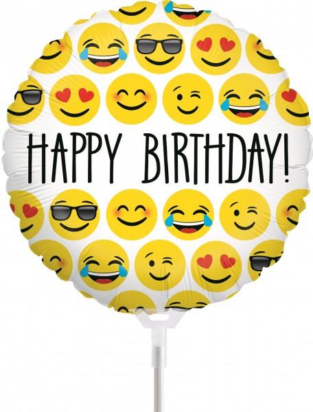 "Betallic Folienballon Emoji Birthday 23cm/9"" luftgefüllt inkl. Stab"