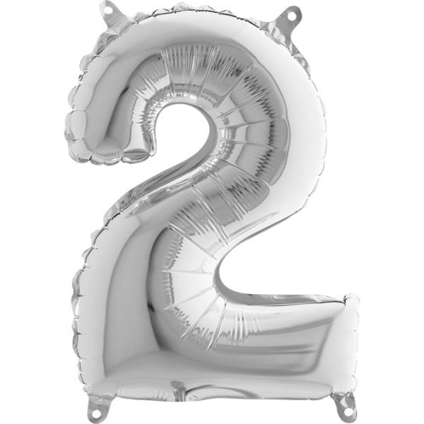 """Grabo Folienballon Zahl 2 Silver 36cm/14"""""""
