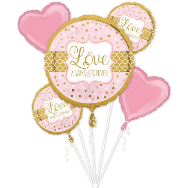 Anagram Folienballon Bouquet Love Always & Forever Rosa & Pink