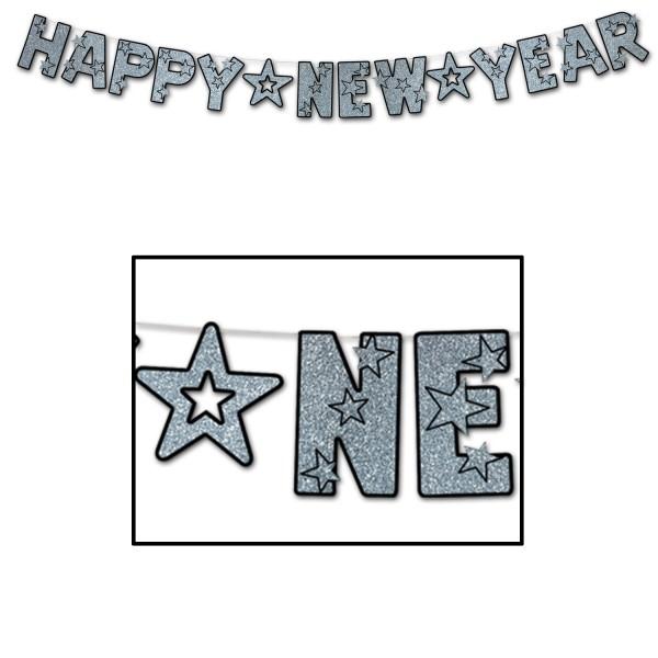"""Beistle Glitzer-Silvester-Girlande """"Happy New Year"""" Schwarz & Silber"""
