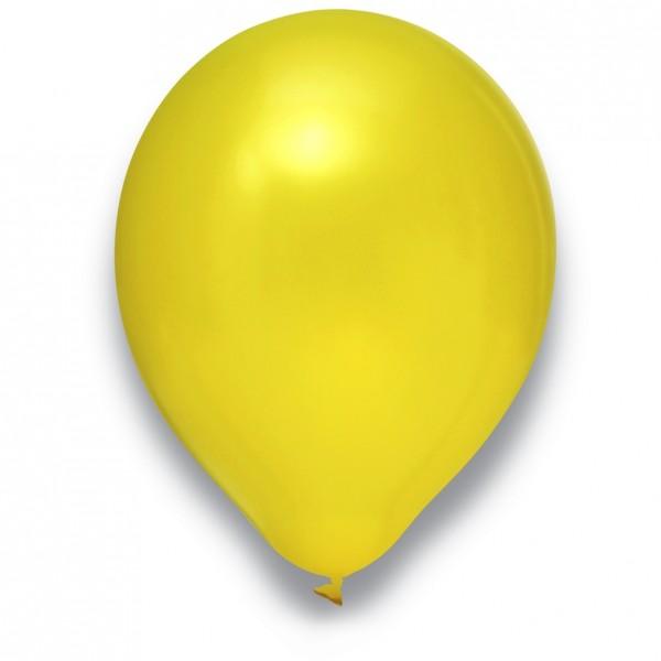 Globos Luftballons 100er Packung 30cm Durchmesser Metallic Gelb Naturlatex
