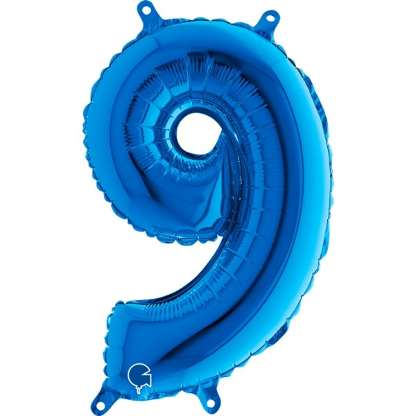 "Grabo Folienballon Zahl 9 Blue 36cm/14"""