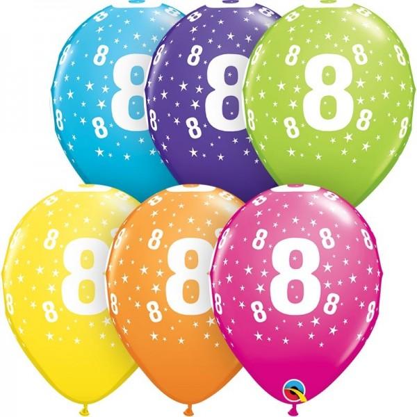 "Qualatex Latexballon Stars 8-A-Round Tropical Assortment 28cm/11"" 50 Stück"