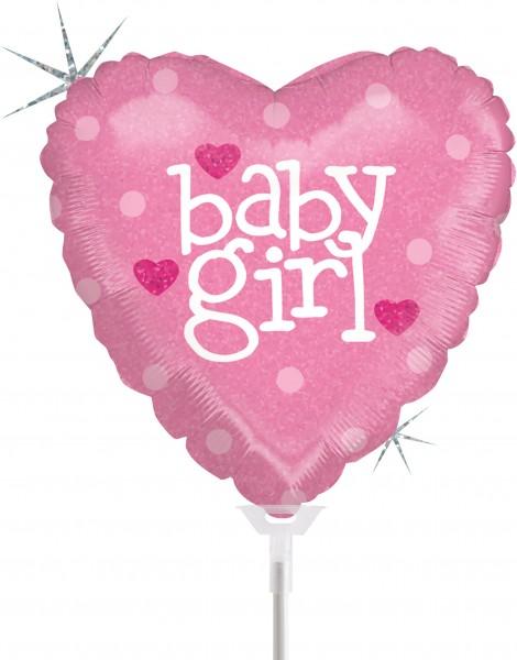 "Betallic Folienballon Baby Heart Girl Holographic 23cm/9"" luftgefüllt inkl. Stab"