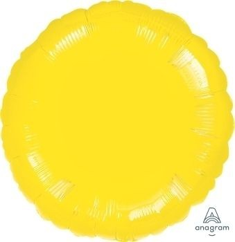 "Anagram Folienballon Rund Metallic Yellow 45cm/18"""