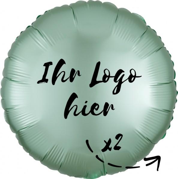 """Folien-Werbeballon Rund Satin Luxe Mint Green 45cm/18"""" 2-Seitig bedruckt"""