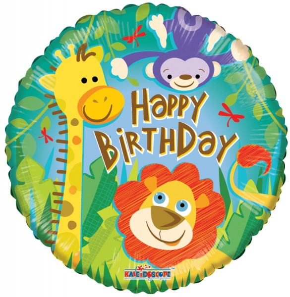 """Kaleidoscope Folienballon """"Happy Birthday - Dschungel"""", 18"""""""