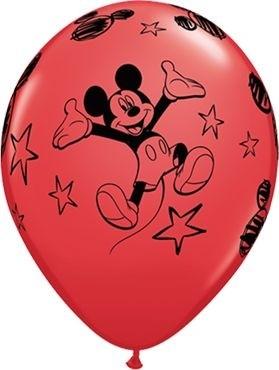 "Qualatex Latexballon Mickey Stars Red 28cm/11"" 6 Stück"