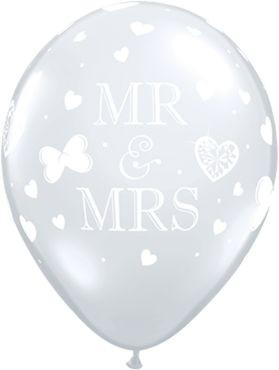 "Qualatex Latexballon Mr. & Mrs. Diamond Clear 28cm/11"" 50 Stück"