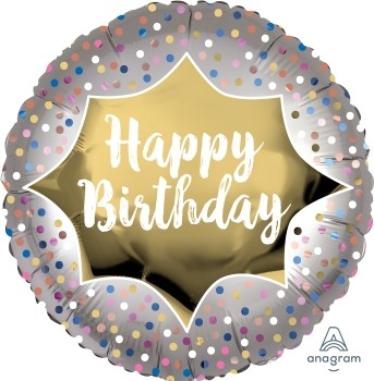 "Anagram Folienballon Rund Satin Happy Birthday"" Gold & Dots 45cm/18"""