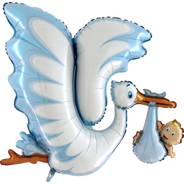 "Grabo Folienballon 135cm Durchmesser Storch Blau 53"""