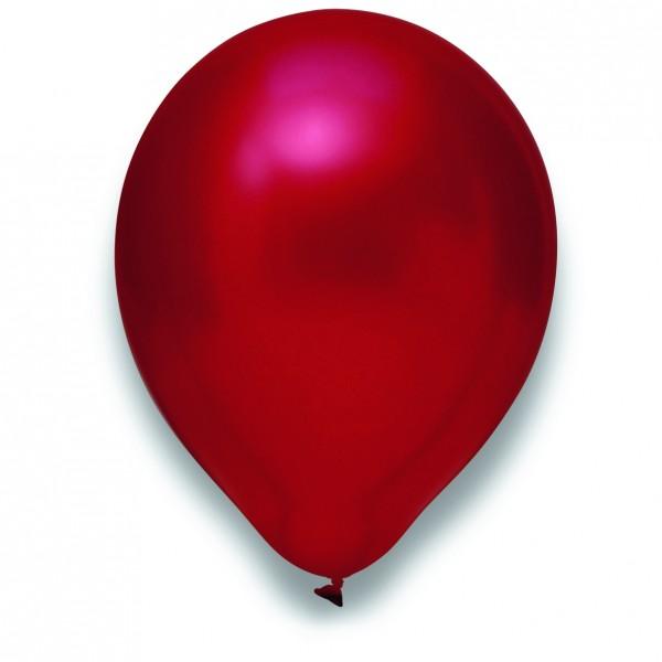Globos Luftballons 100er Packung 30cm Durchmesser Metallic Kirschrot Naturlatex