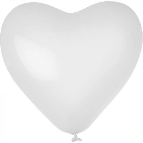 """Globos Herzballons Weiß 35cm/14"""" 100er Packung"""