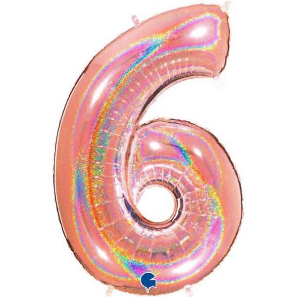 "Grabo Folienballon Glitter Rosegold Holo 100cm/40"" Zahl 6"