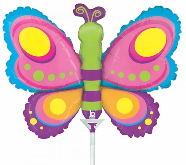 "Betallic Folienballon Butterfly Mini 35cm/14"" luftgefüllt inkl. Stab"