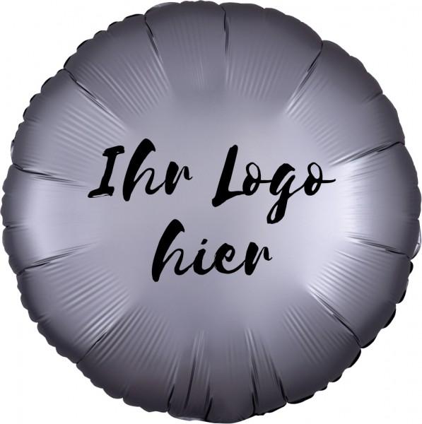 """Folien-Werbeballon Rund Satin Luxe Platinum 45cm/18"""" 1-Seitig bedruckt"""