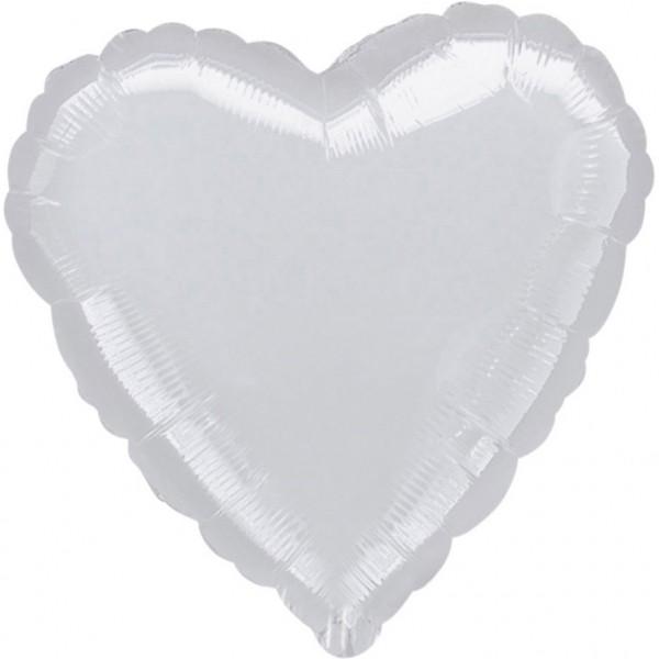"Anagram Folienballon Herz Metallic Silver 80cm/32"""