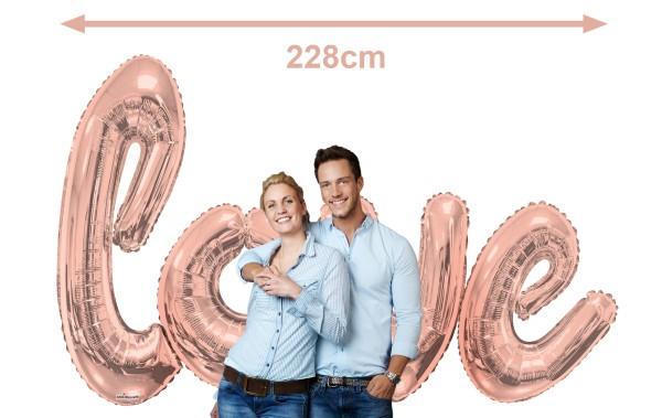 Helium Star 50er Einweggasflasche-Set mit love-Schriftzug Roségold, 4x Ballongewicht + Bänder
