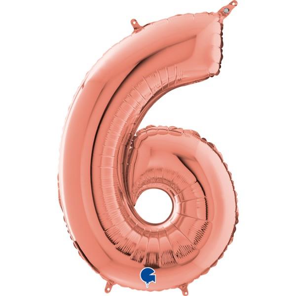 """Grabo Folienballon Zahl 6 Rose Gold 66cm/26"""""""
