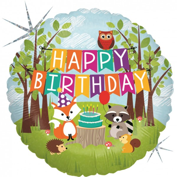 Betallic Folienballon Woodland Birthday Party Holo 45cm/18""