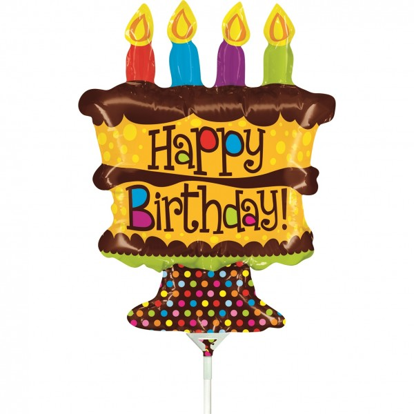 "Betallic Folienballon Mini Birthday Whole Cake 35cm/14"" luftgefüllt inkl. Stab"