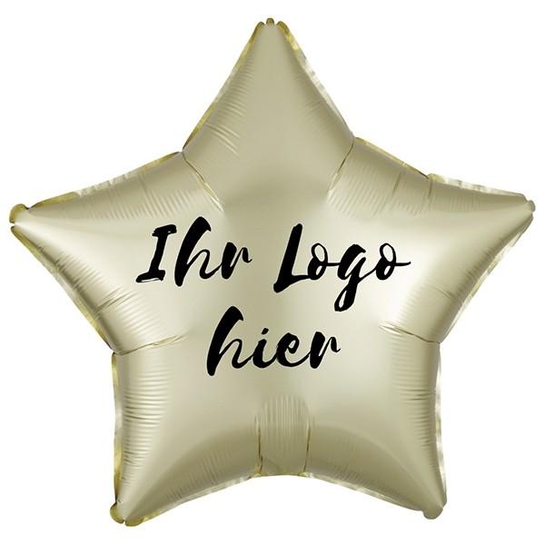 "Folien-Werbeballon Stern Satin Luxe Pastel Yellow 50cm/20"" 1-Seitig bedruckt"