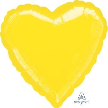 Anagram Folienballon Herz 45cm Durchmesser Metallic Gelb (Yellow)