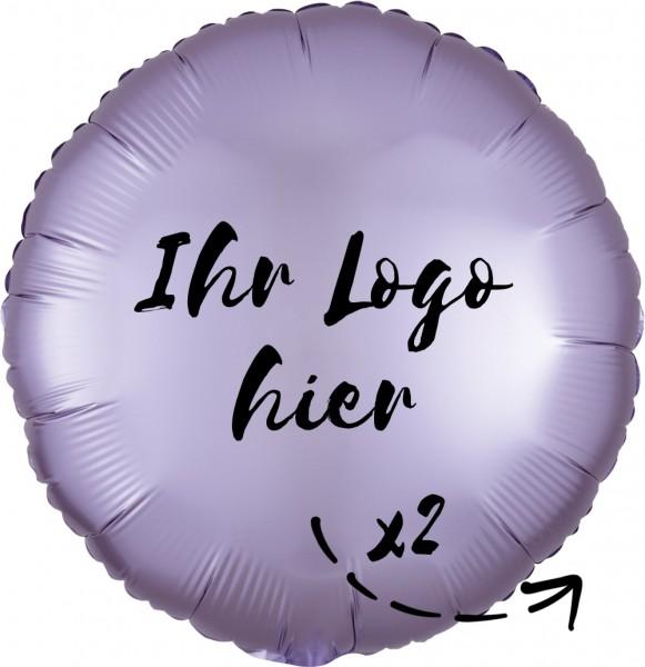"""Folien-Werbeballon Rund Satin Luxe Pastel Lilac 45cm/18"""" 2-Seitig bedruckt"""