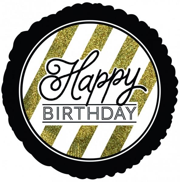 "CTI Folienballon 18"" Happy Birthday Schwarz & Gold Glitzer"