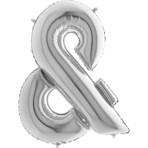 "Grabo Folienballon Zeichen & Silver 100cm/40"""