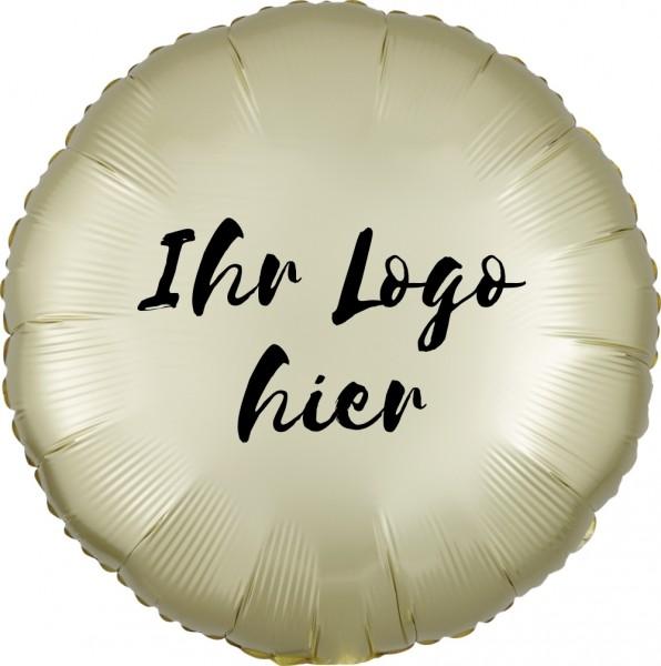 """Folien-Werbeballon Rund Satin Luxe Pastel Yellow 45cm/18"""" 1-Seitig bedruckt"""
