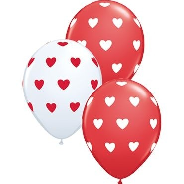 """Qualatex Latexballon Big Hearts Red and White Assorted 28cm/11"""" 50 Stück"""