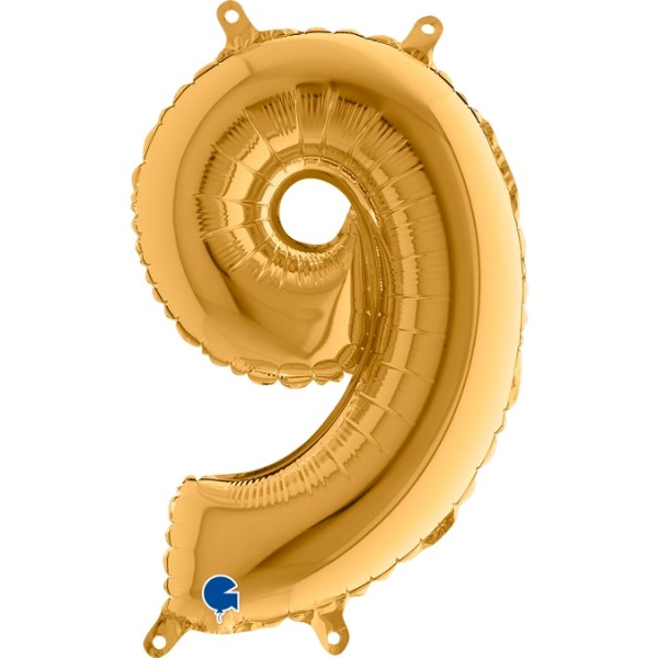 "Grabo Folienballon Zahl 9 Gold 36cm/14"""