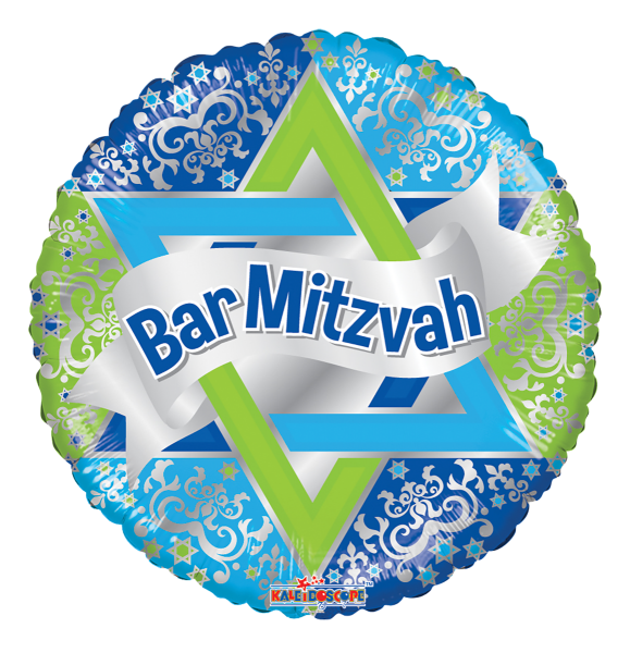 "Kaleidoscope Folienballon Bar Mitzvah K-Light 17"" F"