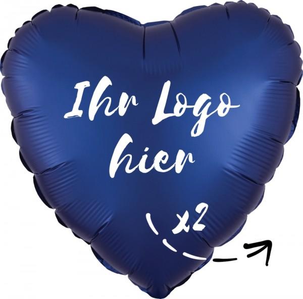 "Folien-Werbeballon Herz Satin Luxe Navy 45cm/18"" 2-Seitig bedruckt"