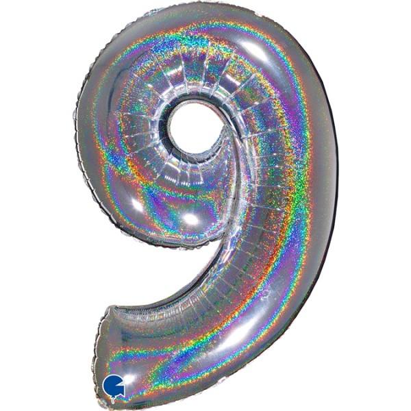 """Grabo Folienballon Zahl 9 Glitter Holographic Silver 100cm/40"""""""