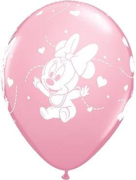"Qualatex Latexballon Baby Minie Hearts Pink 28cm/11"" 6 Stück"