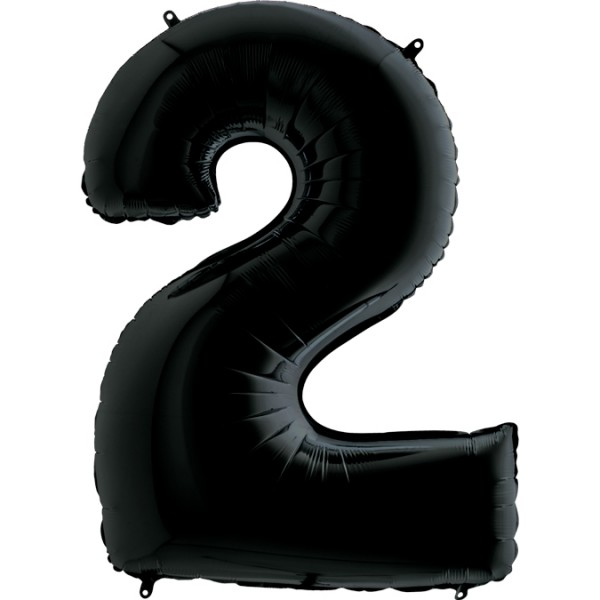 "Grabo Folienballon Zahl 2 Black 100cm/40"""