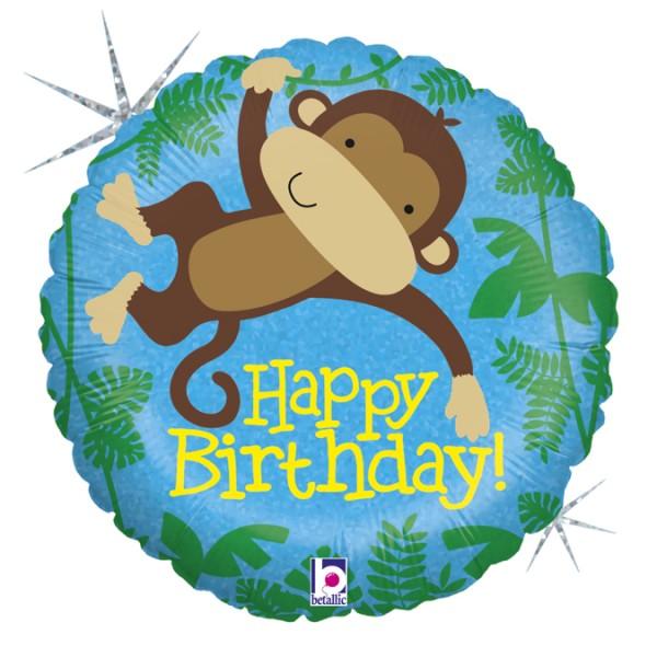 "Betallic Folienballon Happy Birthday Affe Holo 45cm/18"""