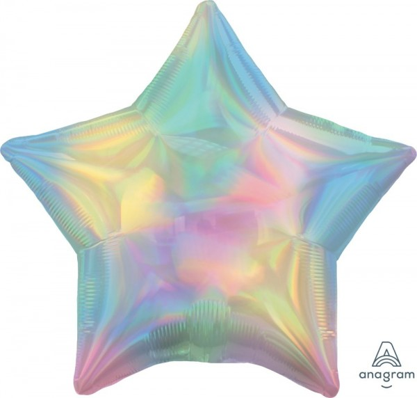 "Anagram Folienballon Stern Iridescent Pastel Rainbow Holo 45cm/18"""