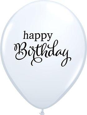 "Qualatex Latexballon Simply Happy Birthday White 28cm/11"" 25 Stück"