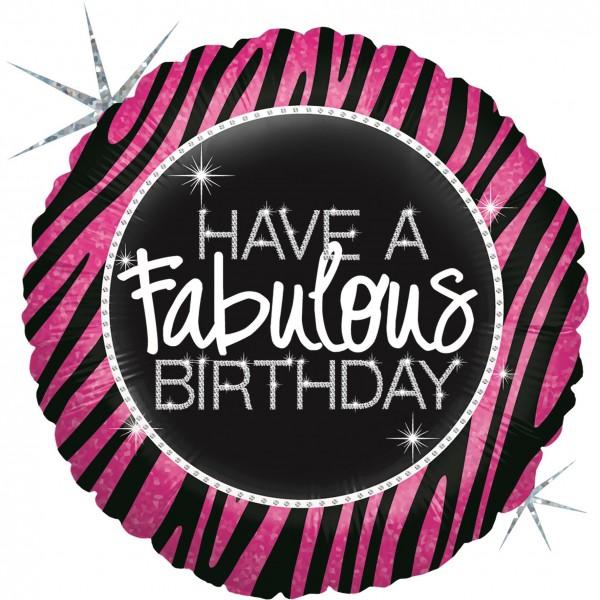 "Betallic Folienballon Fabulous Zebra Birthday Holographic 23cm/9"""