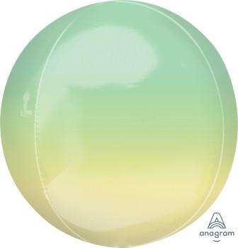 Anagram Folienballon Orbz 40cm Durchmesser Ombré Gelb & Grün (Yellow & Green)