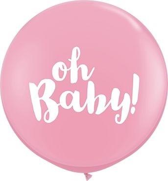 Qualatex Latexballon Oh Baby! Pink 90cm/3' 2 Stück