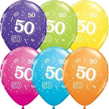 "Qualatex Latexballon Age 50 Retail Sortiment 28cm/11"" 6 Stück"