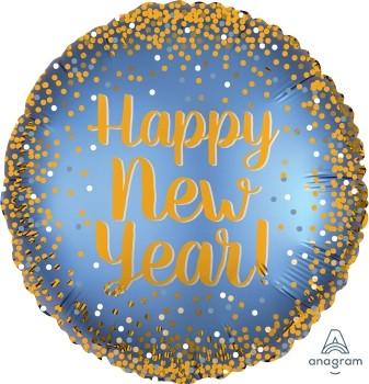 """Anagram Folienballon Rund 45cm Durchmesser Gold & Satin """"Happy New Year"""""""