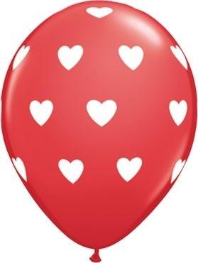 "Qualatex Latexballon Big Hearts Red 28cm/11"" 6 Stück"