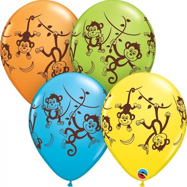 "Qualatex Latexballon Mischievous Monkey 28cm/11"" 25 Stück"