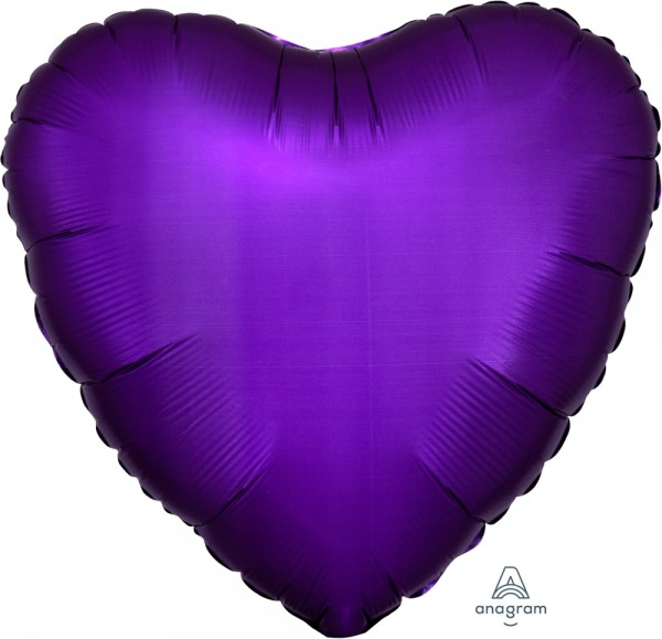 Anagram Folienballon Herz Satin Luxe Purple Royale 45cm/18""