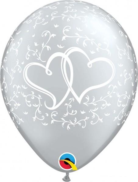 "Qualatex Latexballon Entwined Hearts 28cm/11"" 6 Stück"